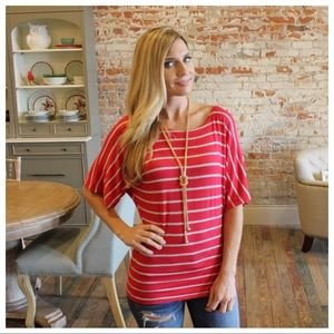 Red and gray striped banded bottom top