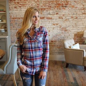 Tops - Blue/burgundy plaid button down top