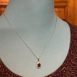 14k oval sapphire and diamond pendant necklace