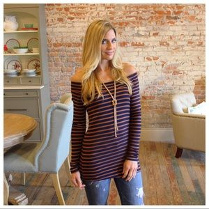 Tops - Navy and tobacco striped off shoulder tunic
