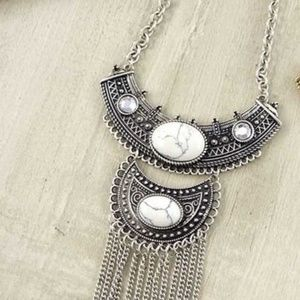 White Howlite Stone and Fringe Bohemian Necklace