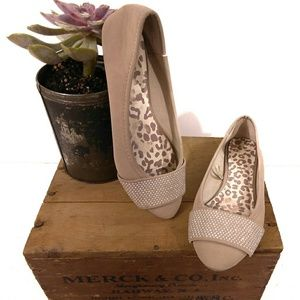 Dollhouse Faux Suede Tan Point Toe Studded Flats