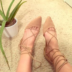 Nude Suede Ballet Lace Up Flat, NEW