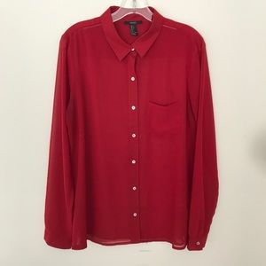 Red Button Down