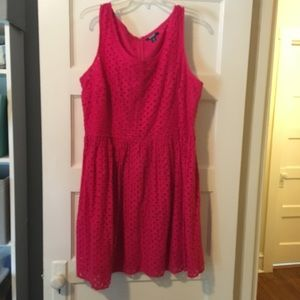 Pink Sleeveless Eyelet Dress