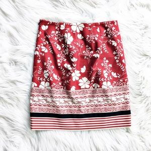 Loft floral and stripe skirt