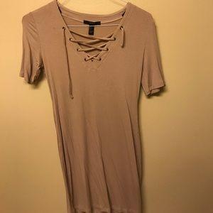 Nude lace up mini dress