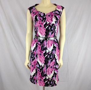 Talbots Dress Floral Pink and black Cotton
