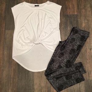 Terez White Twisted Front Short Sleeve Shirt