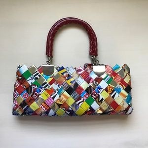 recycled wrapper mini purse