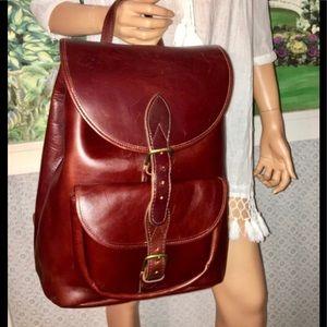 Gorgeous💐 Vintage Vachetta Leather Backpack!💐EUC