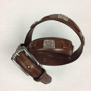 Fossil belt brown with silver tone embellishments