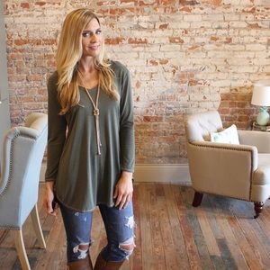 Olive V neck long sleeve modal tunic