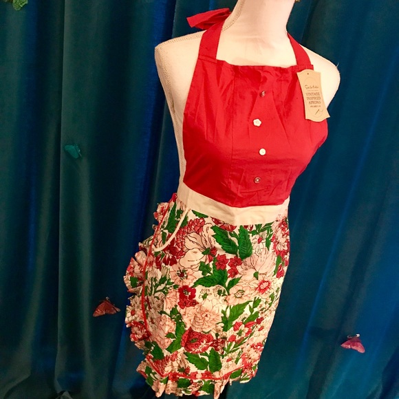 Sur La Table Red Floral Vintage Inspired Apron 2 8 Nwt