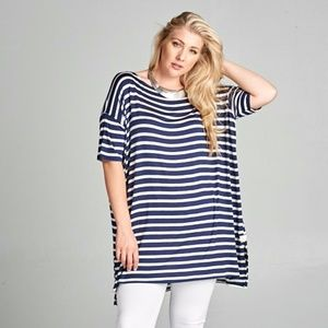 Tops - ***PLUS***Heather Striped Nautical Oversize Tunic