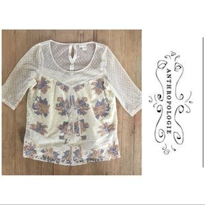 💕Anthropologie mesh embroidered top by Meadow Rue