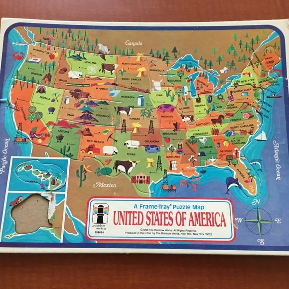 RARE 1968 United States of America Map VTG Puzzle