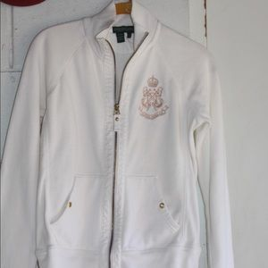 White female Ralph Lauren fleece