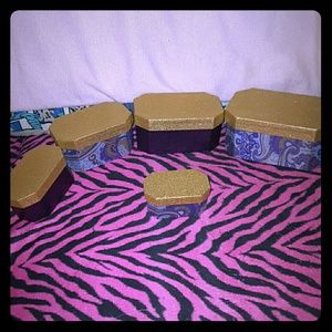 5 Gold & Purple Glitter Storage Boxes