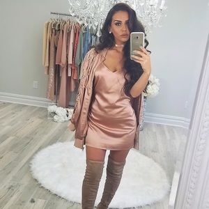Carli Bybel X Missguided Rose Gold Bomber