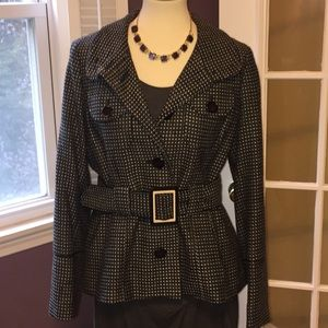 AGB Houndstooth Jacket. Belted at waist.