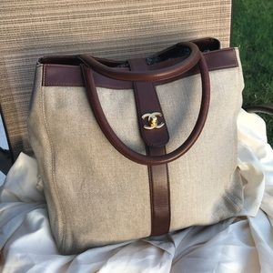 Vintage authentic Chanel coating linen tote