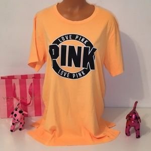 NEW L PINK VS LOGO SHORT SLEEVE SHIRT
