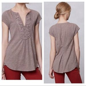 Anthropologie Meadow Rue Lace Yoke Top