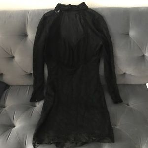 Free People Black High Collar Lace Dress
