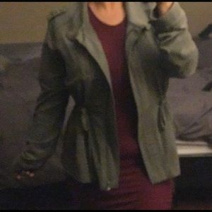 Cinched waist olive green jacket