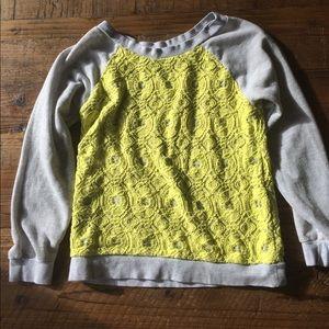 Anthropologie grey and yellow lace sweatshirt