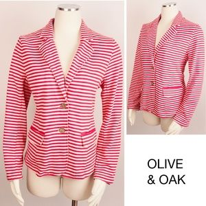 Nautical Striped Blazer Cotton Unlined Career 439