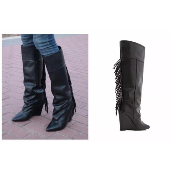 407331422e2 MANGO Tall High Black Fringe Leather Wedge boots. M 59c50dfe522b451fac026275