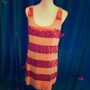 ARK & CO. Melon Coral Orange Sequin Stripe Dress M