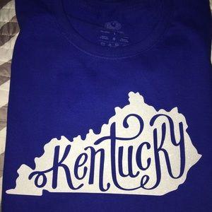 Large Blue KY Kentucky t-shirt