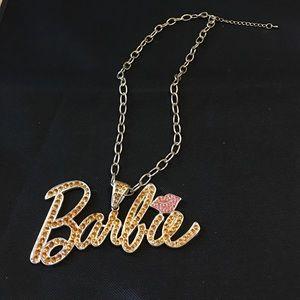 Large Barbie rhinestone pendant necklace