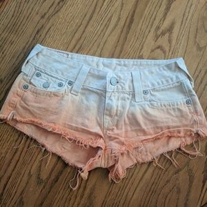 True Religion Orange Joey Cut Off Denim Jea Shorts