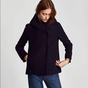 New Zara Wrap Around Collar Coat Small
