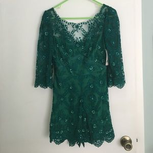 Free People emerald green sequence romper 0