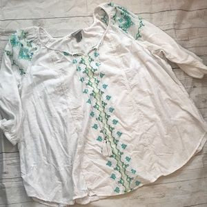 Catherine's embroidered peasant blouse plus size
