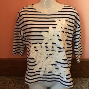 J. Crew Stripped Top with Flower design