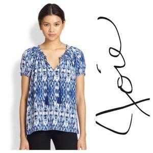 Joie Masha blue white silk ikat print Top L