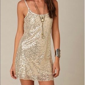 Free People Gold Sequin Slip