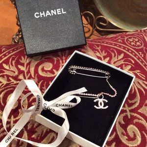 "100% AUTHENTIC ""CHANEL"" PIN WITH BOX/RIBBON"