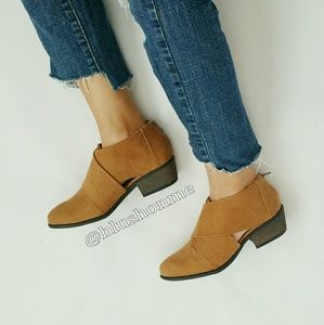 Shoes - Cut Out Vegan Suede Booties