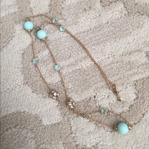 J. Crew turquoise, gold and crystal ball necklace