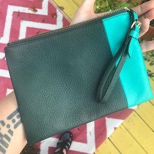 Gap leather wristlet clutch wallet blue green