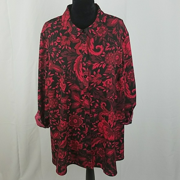 20e13e961957f Catherines Tops - Catherines women plus size 2X red black shirt