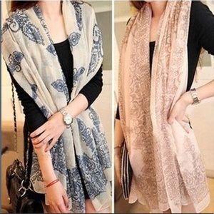 New Women's Long Blue & Pink Fall / Winter Scarves