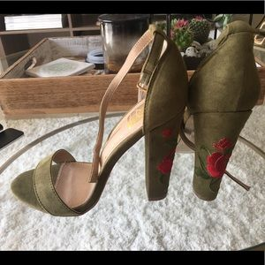 Lulu's army green heels with floral